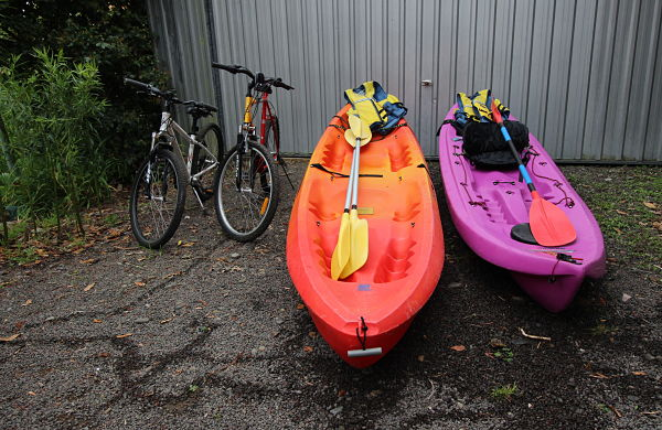 We have bikes and kayaks available to use